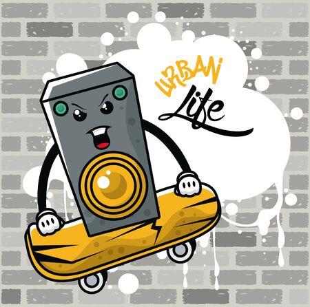 graffiti urban style poster with skateboard and speaker vector illustration design