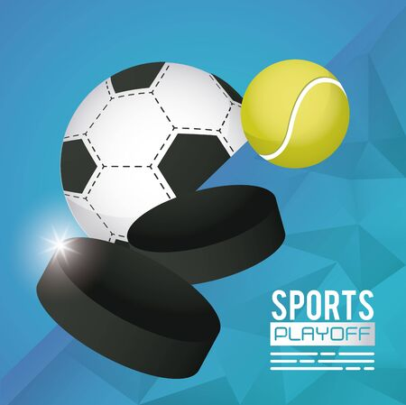 soccer and tennis sports poster with balls vector illustration design  イラスト・ベクター素材