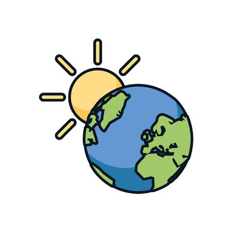 world planet earth with sun vector illustration design