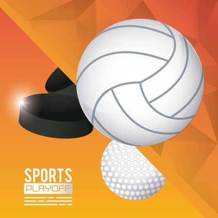 golf and volleyball sports poster vector illustration design