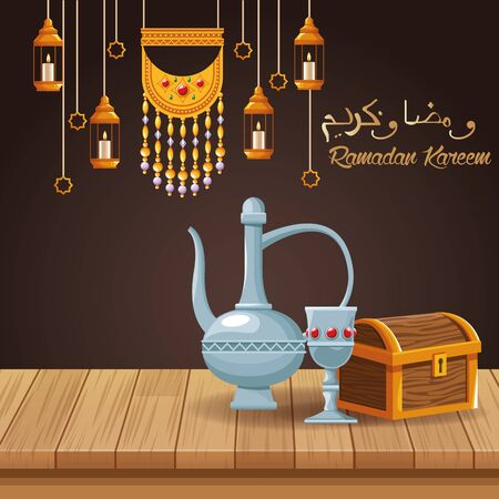 ramadan kareem celebration card with teapot and chalice vector illustration design Stock Illustratie