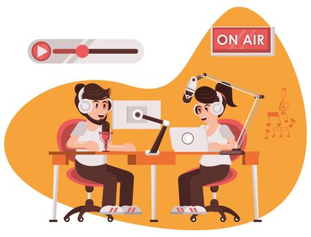 international radio day poster with announcers couple vector illustration design