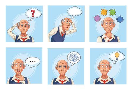 old men patients of alzheimer disease with speech bubbles an puzzle pieces vector illustration design