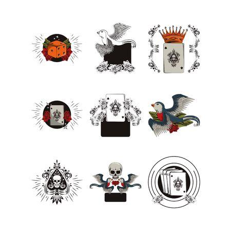 bundle of tatoos images icons vector illustration design