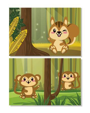 cute chipmunk and monkeys animals vector illustration design