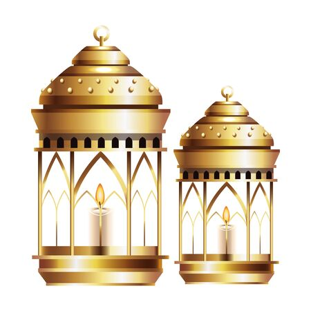 Antique golden magic lamps and candles vector illustration graphic design