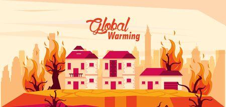 global warming alert with forest fire vector illustration design