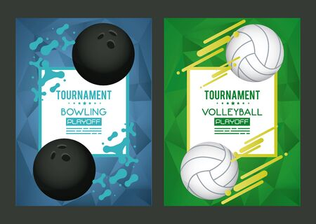 volleyball and bowling sports equipment poster vector illustration design
