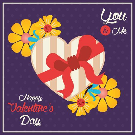 happy valentines day card with chocolates heart gift vector illustration
