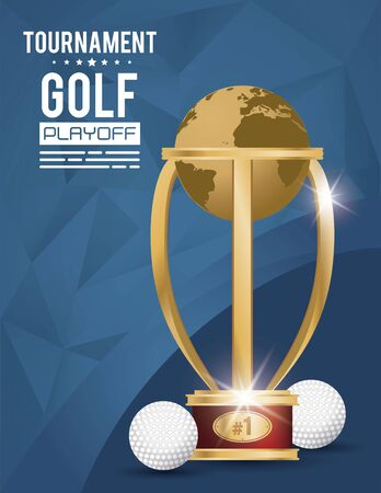 golf sport ball and trophy vector illustration design