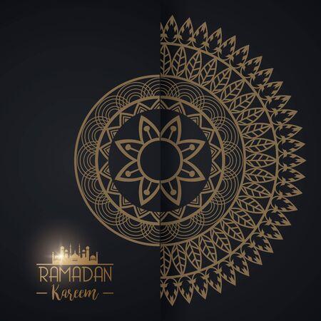 eid mubarak card with mandala frame vector illustration design Vektoros illusztráció