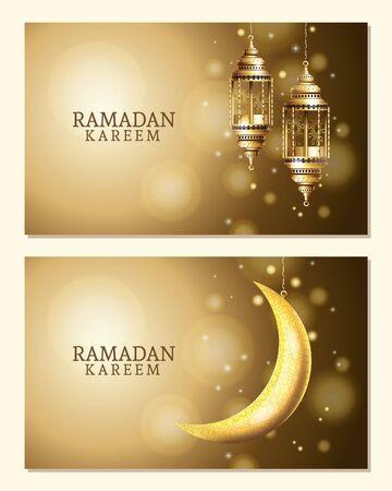 ramadan kareem celebration with lanterns hanging and moon vector illustration design