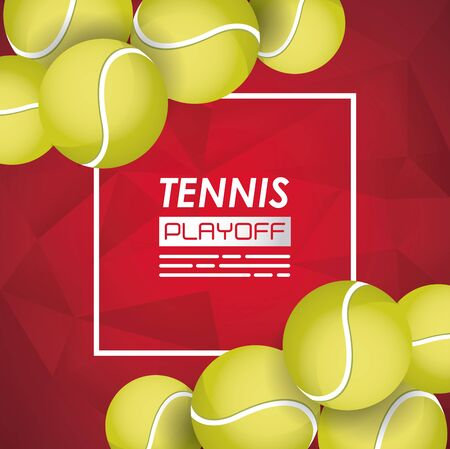 tennis sport poster with balls vector illustration design