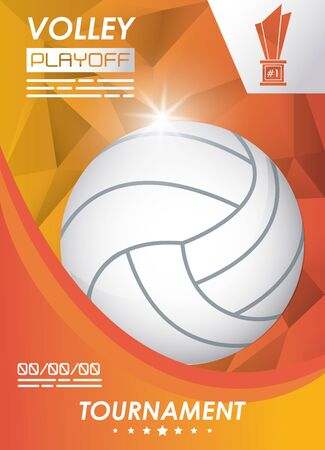 volleyball sport poster with balloon vector illustration design