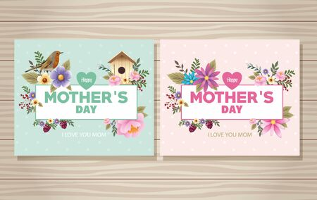 happy mothers day card with bird and housebird floral frame vector illustration design