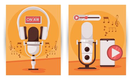 international radio day poster with microphone and smartphone vector illustration