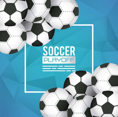 soccer sport poster with balloons vector illustration design  イラスト・ベクター素材