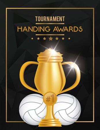 volleyball sport balloon and trophy vector illustration design