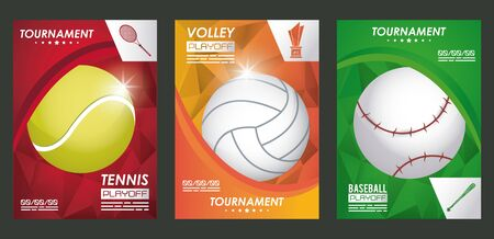 sports poster with set balloons vector illustration design  イラスト・ベクター素材