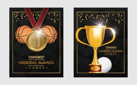 basketball and golf sports trophy and medals vector illustration design  イラスト・ベクター素材