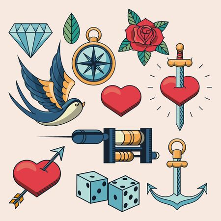 tattoo studio image artistic set icons vector illustration design