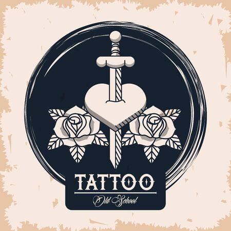 sword in heart tattoo studio image artistic vector illustration design