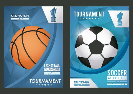 basketball and soccer sports poster with balloons vector illustration design
