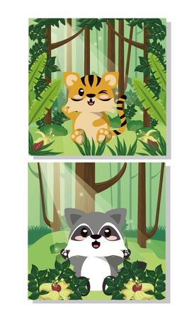 cute raccoon wild animal character icon vector illustration design 向量圖像