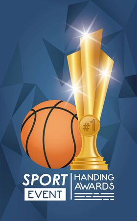 basketball sport balloon and trophy vector illustration design