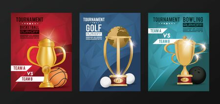 sports events trophy awards posters vector illustration design