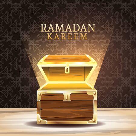 ramadan kareem celebration with chest vector illustration design