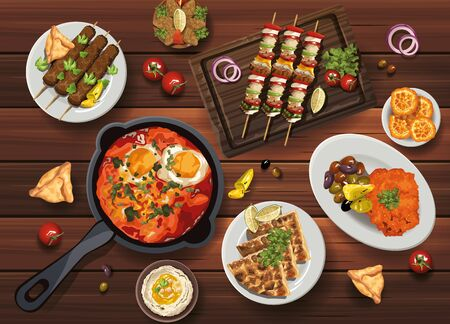 middle eastern food in wooden table vector illustration design Vettoriali