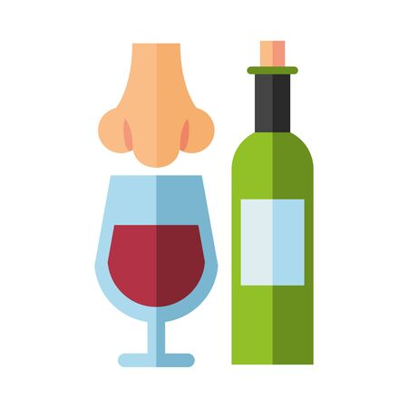 wine bottle drink with cup and nose smelling vector illustration design