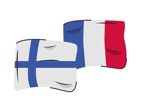 finland and france flags countries isolated icon vector illustration design