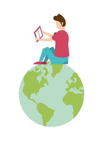 man seated reading book in world planet earth vector illustration design