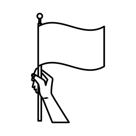 activist hand human with flag vector illustration design