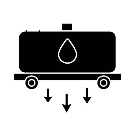 trailer tank with oil drop flat style vector illustration design