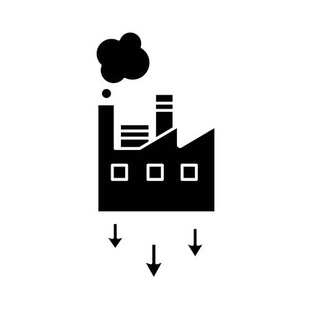 factory building with arrows down flat style vector illustration design