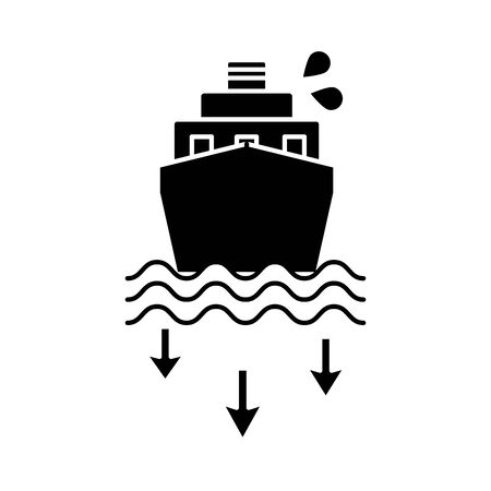 oil cargo ship flat style vector illustration design