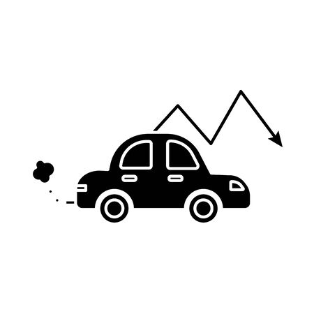 car polluting with arrow down flat style vector illustration design 向量圖像