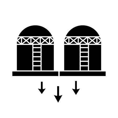 oil tanks refinery flat style icon vector illustration design