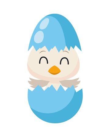 cute little duck borning easter character vector illustration design