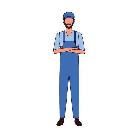 car mechanic standing icon over white background, vector illustration Stock Illustratie