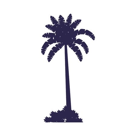 tree plant tropical silhouette icon vector illustration design
