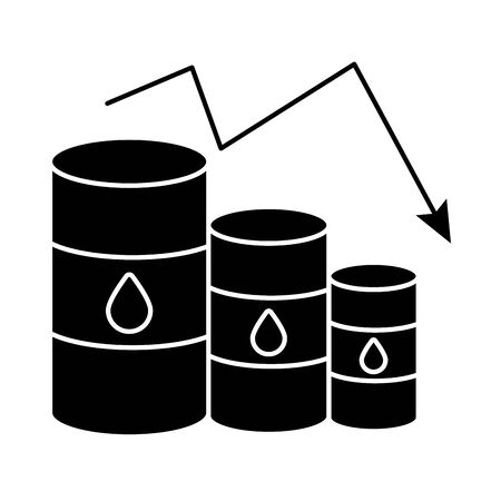 gasoline barrels with arrow decreasing oil prices flat style vector illustration