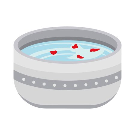 bowl with water with flowers petals vector illustration design