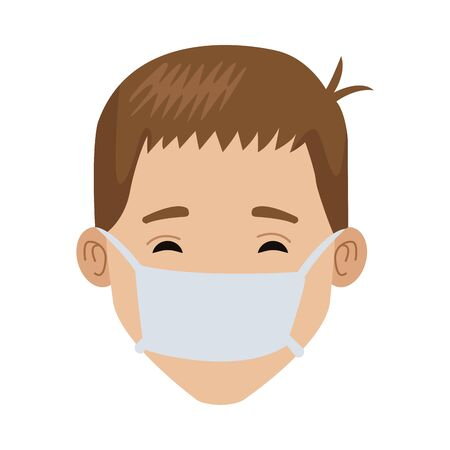 young man with mouth cap medical accessory vector illustration design Vetores
