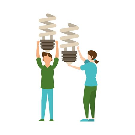 couple lifting economy bulb light spiral icon vector illustration design