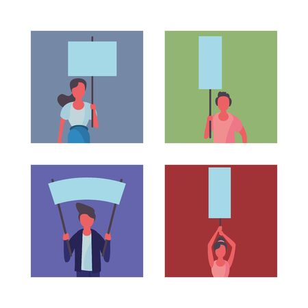 activists people with protest banners vector illustration design
