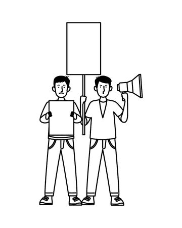 activists people protesting avatar characters vector illustration design